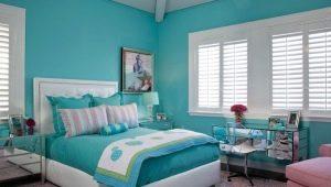 Оформление спальни в бирюзовых тонах