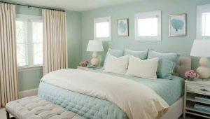 Спальня в мятных тонах