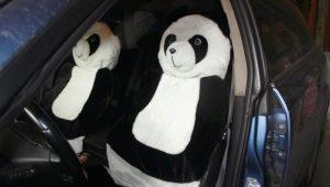 Чехлы в виде панды на сиденья автомобиля